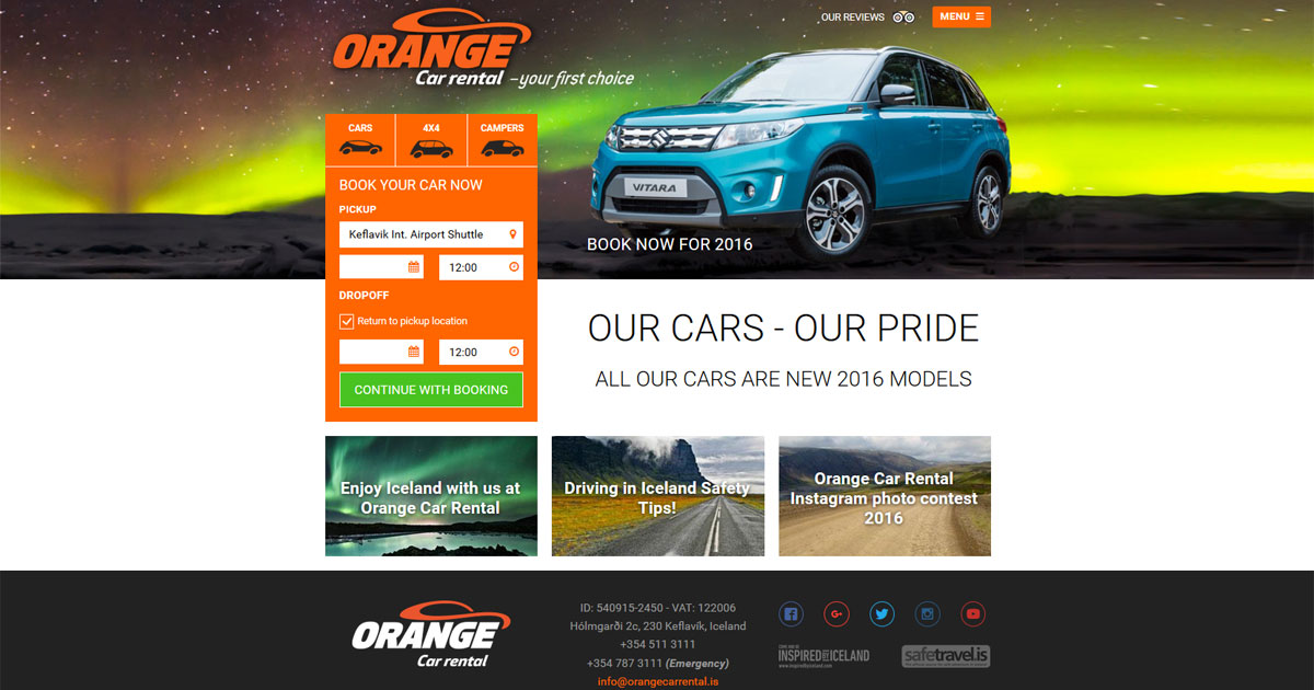 Car Rental In Iceland Orange Car Rental Iceland
